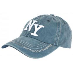 Casquette NY Bleu Vintage en Coton Denim Surpiqures Baseball Retro Broyd CASQUETTES Léon montane