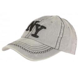 Casquette NY Gris Vintage en Coton Denim Surpiqures Baseball Retro Broyd CASQUETTES Léon montane