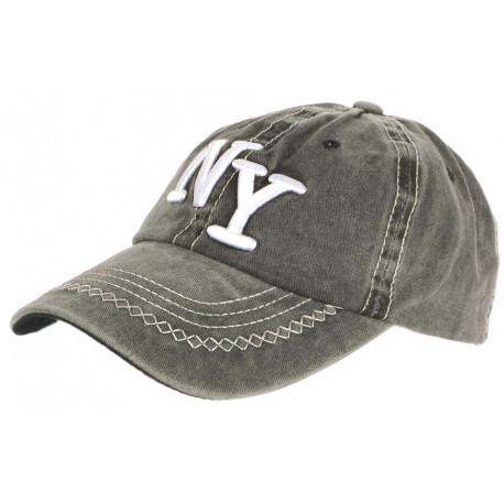 Casquette NY Gris Fonce Retro Coton Denim Surpiqures Baseball Vintage Broyd CASQUETTES Léon montane