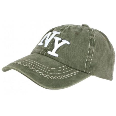 Casquette NY Verte Retro Coton Denim Surpiqures Baseball Vintage Broyd CASQUETTES Léon montane