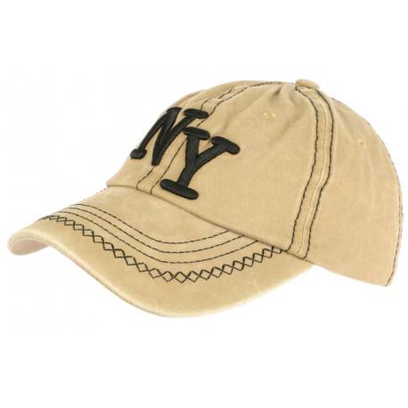Casquette NY Marron Beige Retro Coton Denim Baseball Vintage Broyd CASQUETTES Léon montane