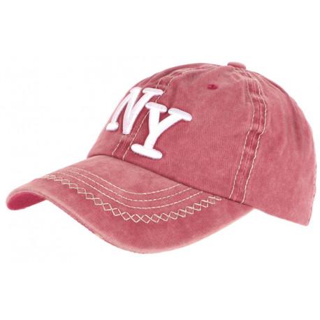 Casquette NY Rouge Retro Coton Denim Surpiqures Baseball Vintage Broyd CASQUETTES Léon montane