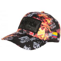 Casquette El Patron Noire Orange Colombia Fire Streetwear Baseball Medellin CASQUETTES SKR