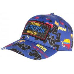 Casquette El Patron Bleue et Rouge Medellin Rey Streetwear Baseball Colombia CASQUETTES SKR