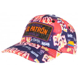Casquette El Patron Orange et Violette Strass Streetwear Colombia Medellin Baseball CASQUETTES SKR