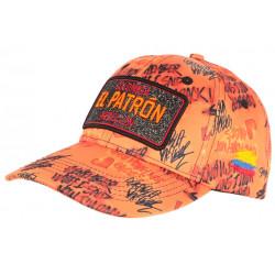 Casquette El Patron Orange et Noire Strass Streetwear Colombia Medellin Baseball CASQUETTES SKR