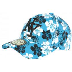 Casquette NY Bleue a Fleurs Blanches Fashion Baseball Phuket CASQUETTES Hip Hop Honour