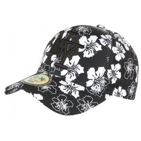 Casquette NY noire a Fleurs Blanches Exotiques Baseball Phuket CASQUETTES Hip Hop Honour