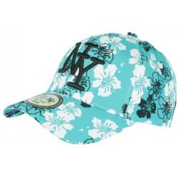 Casquette NY Turquoise a Fleurs Blanches Exotiques Baseball Phuket CASQUETTES Hip Hop Honour