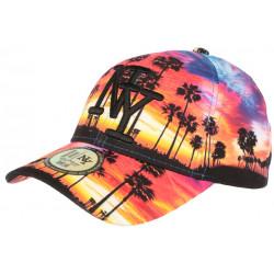 Casquette NY Orange et Bleue Tropical Sunset Fashion Baseball CASQUETTES Hip Hop Honour