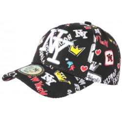 Casquette NY Noire et Jaune Fashion Streetwear Baseball Crown CASQUETTES Hip Hop Honour