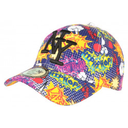 Casquette NY Violette et Jaune Fashion Streetwear Baseball Hip Hop CASQUETTES Hip Hop Honour