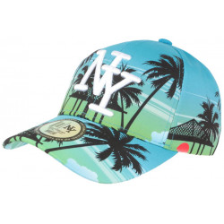 Casquette NY Bleue et Verte Tropicale Palmiers Paradise Baseball CASQUETTES Hip Hop Honour