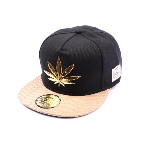Casquette Snapback JBB Couture Noir Marron Cannabis