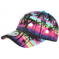 Casquette NY Violette et Bleue Tropical Palmiers Sunset Baseball CASQUETTES Hip Hop Honour