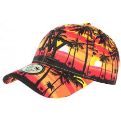 Casquette NY Orange et Jaune Tropical Palmiers Sunset Baseball CASQUETTES Hip Hop Honour