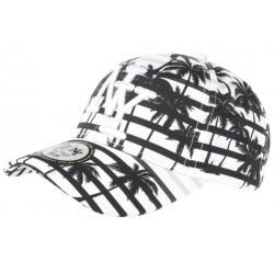 Casquette NY Blanche et Noire Cocotiers Fashion Tropical Baseball Maldyv CASQUETTES Hip Hop Honour