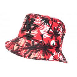 Chapeau Bob NY Rouge et Noir Tropical Palmier Hawai BOB Hip Hop Honour