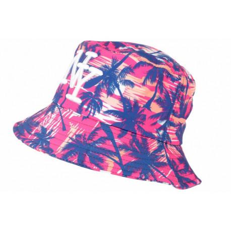 Chapeau Bob NY Rose et Bleu Tropical Print Palmier Hawai BOB Hip Hop Honour
