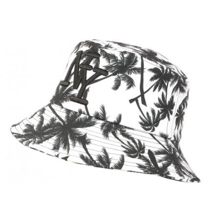 Chapeau Bob NY Blanc et Noir Tropical Design Palmier Hawai BOB Hip Hop Honour
