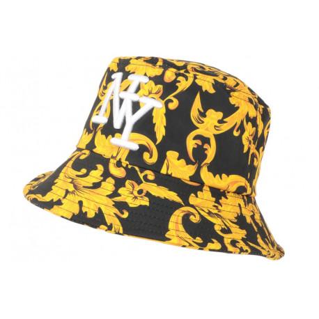 Chapeau Bob NY Jaune et Noire Fashion Streetwear Bolga BOB Hip Hop Honour