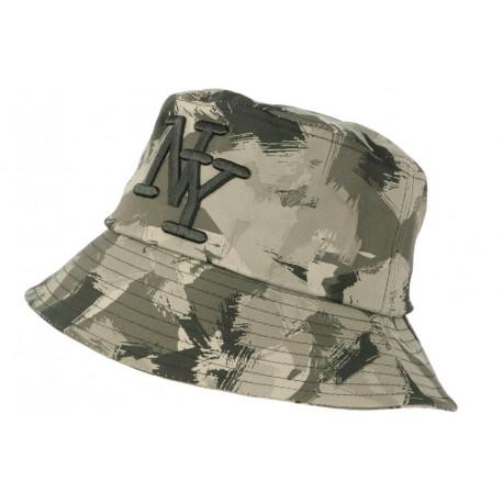 Chapeau Bob NY Camouflage Gris et Noir Militaire Fashion Boby BOB Hip Hop Honour
