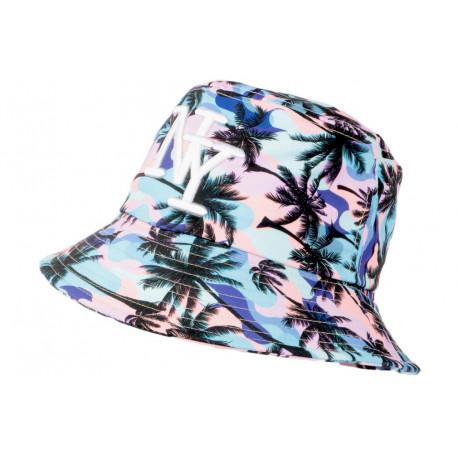 Chapeau Bob NY Bleu et Rose Tropical Streetwear Sunrise BOB Hip Hop Honour
