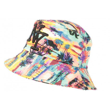 Chapeau Bob NY Vert et Jaune Tropical Streetwear Sunrise BOB Hip Hop Honour