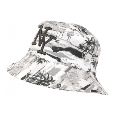 Chapeau Bob NY Gris et Noir Look Tropical Streetwear Exotyq BOB Hip Hop Honour