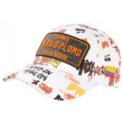 Casquette Plata o Plomo Blanche et Orange Strass Streetwear Power Colombia Baseball CASQUETTES SKR