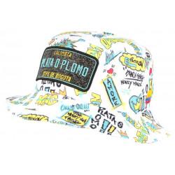 Chapeau Bob Plata o Plomo Blanc et Bleu Bogota Streetwear Fashion BOB SKR