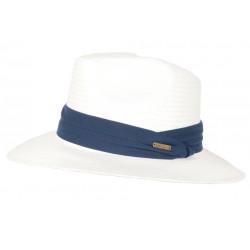 Chapeau de Paille Blanc Ceinture Bleue Classe et Tendance Théo CHAPEAUX Léon montane