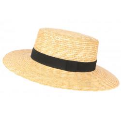 Grand chapeau de paille canotier beige ceinture noire Bazyl CHAPEAUX Léon montane