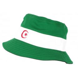 Chapeau Bob Algerie Vert et Blanc Reversible Noir en coton BOB Nyls Création