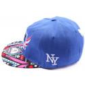Casquette Snapback NY bleu visière imprimé