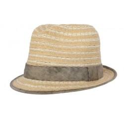 Chapeau de paille Stroke naturel et beige CHAPEAUX Nyls Création