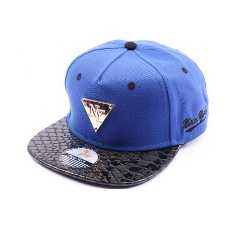 Casquette Snapback NY Bleu visière serpent