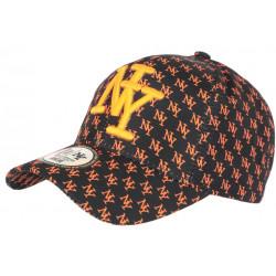 Casquette NY Orange Fluo et Noire Print New York Fashion Baseball Avenue CASQUETTES Hip Hop Honour