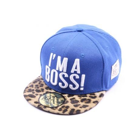 Casquette Snapback Enfant I'm a Boss bleue léopard jusqu'à 8ans