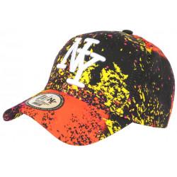 Casquette NY Orange et Noire Design Tags Streetwear Baseball Grafty CASQUETTES Hip Hop Honour