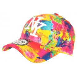 Casquette NY Orange et Jaune Fashion Tags Streetwear Baseball Grafty CASQUETTES Hip Hop Honour