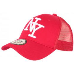 Casquette NY Filet Rouge et Blanche Trucker Baseball Fashion Gybz CASQUETTES Hip Hop Honour