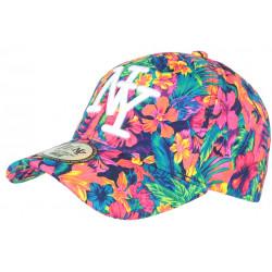 Casquette NY Orange et Bleue Florale Fantaisie Baseball Phuket CASQUETTES Hip Hop Honour