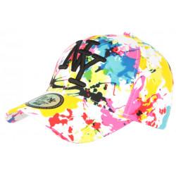Casquette NY Blanche et Jaune Fashion Tags Streetwear Baseball Grafty CASQUETTES Hip Hop Honour