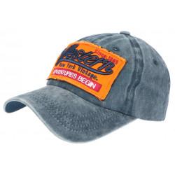 Casquette Baseball Vintage Bleue et Orange Coton NY Retro Western CASQUETTES Hip Hop Honour