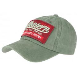 Casquette Baseball Vintage Verte et Rouge Coton NY Retro Western CASQUETTES Hip Hop Honour