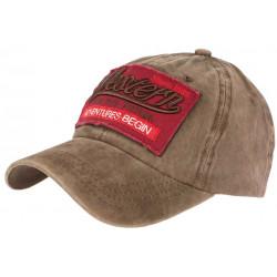 Casquette Baseball Vintage Marron et Rouge Coton NY Retro Western CASQUETTES Hip Hop Honour