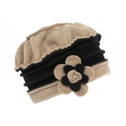 Bonnet Beret Femme Beige et Noir Polaire Deperlante Hiver Classe Syllia CHAPEAUX Léon montane