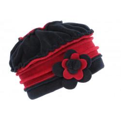 Bonnet Beret Femme Rouge et Bleu Polaire Deperlante Hiver Classe Syllia CHAPEAUX Léon montane