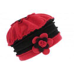 Bonnet Beret Femme Rouge et Noir Polaire Deperlante Hiver Classe Syllia CHAPEAUX Léon montane